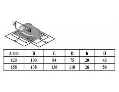 Zarážka brány 158x50x45x85 Pzn