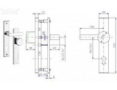 Bezpečnostní kování 802/90mm Klika-knoflík  Cr-nerez
