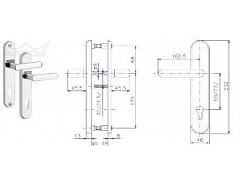 Bezpečnostní kování 807/O/Ti/90mm