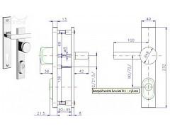 Bezpečnostní kování R1/90mm klika-knoflík  Cr-nerez bez vložky