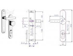 Bezpečnostní kování R1/ knof. /O/72mm Cr-nerez