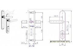 Bezpečnostní kování R4/90mm Cr-nerez Oblá