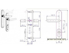 Bezpečnostní kování R4/O/72 Cr-nerez bez vložky
