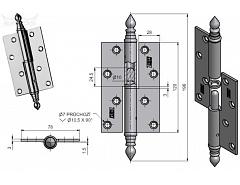 Závěs dveřní rovný UR 120 černýl lak ''L''č.94570240