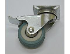 Kolečko 75x21 otočné s brzdou/plotna šedá guma 45 kg