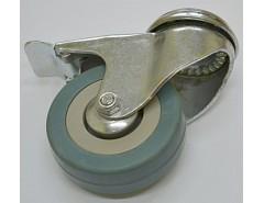 Kolečko 75x21 otočné s brzdou/otvor pro šroub M10, šedá guma 45 kg