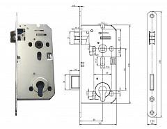 Zámek zadlabací, FAB C4150 PP-FR P-L 90/50/80,čelo 20mm protipožární FABDOS