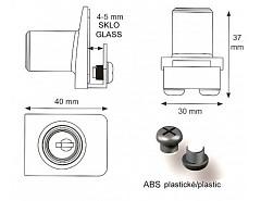 SQUARE zámek na skl. dv. 1 sklo NI SAT Z10 14.09.521-0