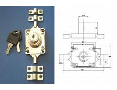 AVES 168-22 Cr zámek rozvorový + 2 tyče délka 1m (pr. 6mm]